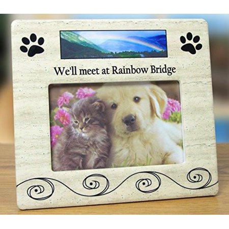 Pet Bereavement Photo Frame for Dog or Cat - We'll meet at Rainbow Bridge - for 4x6 - Dog Photo Frame