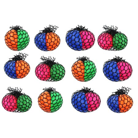 Its Party Time (12 Pack of Double 2 Color Mesh Balls, Squishy Splat Toy Ball, Fun Pass Time, Great for kid's Parties, Goodie Bags and Party)