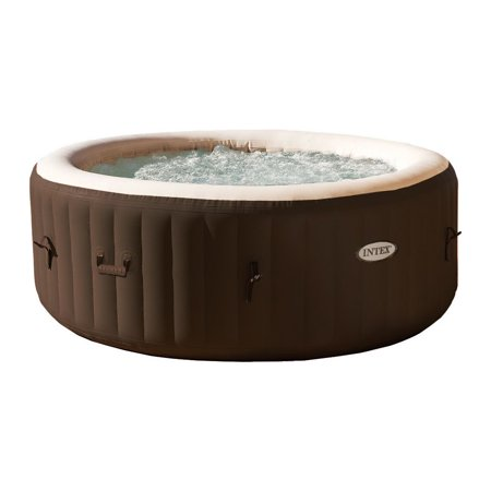 Intex PureSpa 4 Person Inflatable Bubble Jet Spa Portable Heated Hot Tub, Brown