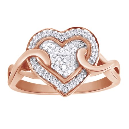 0.06 Round White Natural Diamond Twist Heart Ring in 14k Rose Gold Over Sterling Silver Ring Size - 6.5