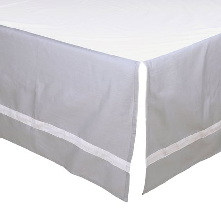 The Peanut Shell Tailored Crib Skirt - Solid Grey with White Trim - 100% Cotton Sateen 14 Inch Drop, Standard Crib