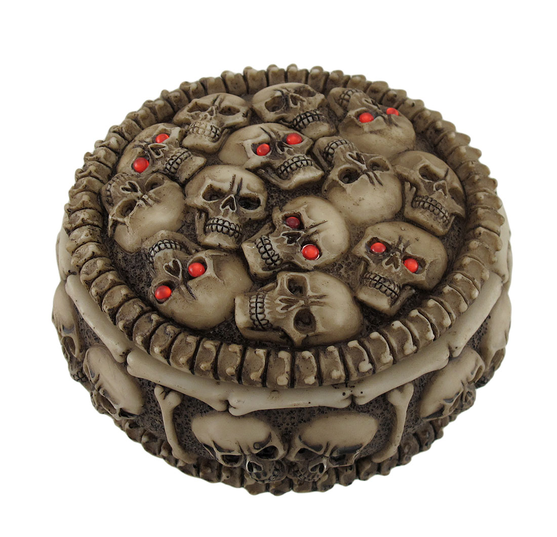 Demonic Red Eyed Skulls and Bones Covered Trinket Box