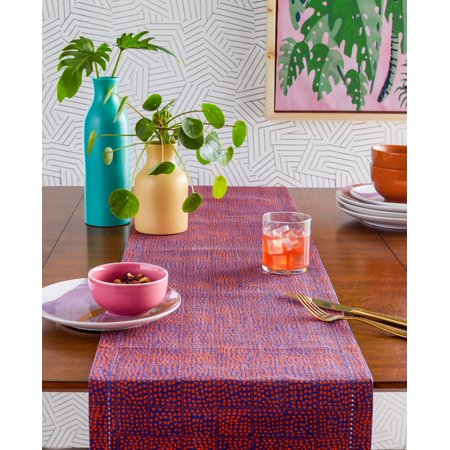 Star Stitch Table Runner, Ojai Orange and Purple by Drew Barrymore Flower Home