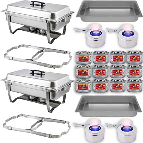 Chafing Dish Buffet Set w/Fuel — Folding Frame + Water Pan + Food Pan (8 qt) + 2 Fuel Holders + 12 Fuel Cans – 2 Full Warmer Kit