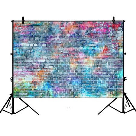 GCKG 7x5ft Photopraphy Brick Colorful Brick Polyester Photography Backdrop Photography Props Studio Photo Booth Props - image 4 de 4