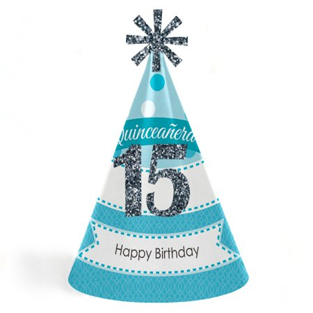 Quinceanera Teal - Sweet 15 - Cone Happy Birthday Party Hats for Kids and Adults - Set of 8 (Standard Size) for $<!---->