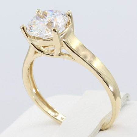 Classic Trellis Engagement Ring Setting (1.50 Ct 14K Real Yellow Gold Round Cut 4 Prong Trellis Basket Setting Classic Solitaire Engagement Wedding Bridal Propose Promise Ring )