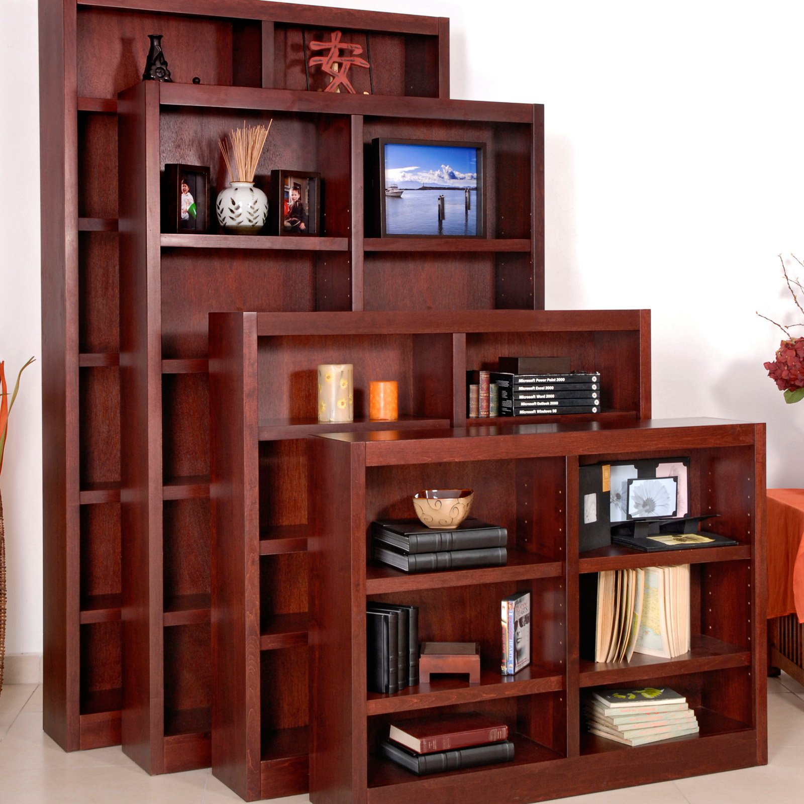 concepts in wood double wide wood veneer bookcase walmart