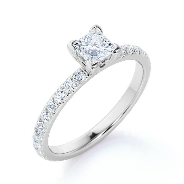 Jeenmata Modern 1 Carat V Prong Set Square Cut Diamond Pave Eternity Band Thin Band Engagement Ring In 10k White Gold Walmart Com Walmart Com