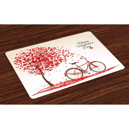 Valentines Day Placemats Set of 4 Romantic Tree with Blooming Hearts with Bike and Petals Vintage Artwork, Washable Fabric Place Mats for Dining Room Kitchen Table Decor,Cream Vermilion, by Ambesonne ()