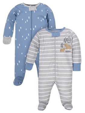 Wonder Nation Baby Boy Pajamas Zip Up Sleep 'N Play Sleepers, 2-Pack