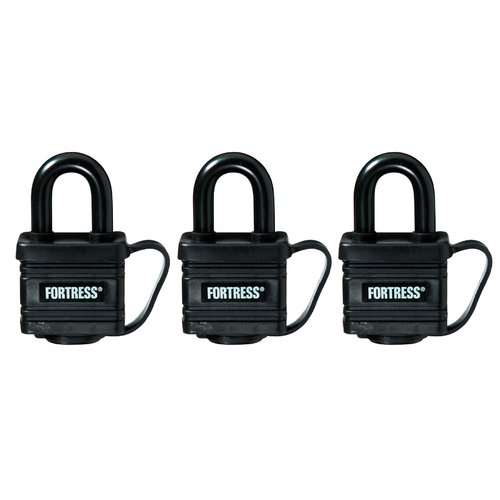 "Master Lock 1804TRI 1-9/16"" Black Weatherproof Padlocks 3 Count"