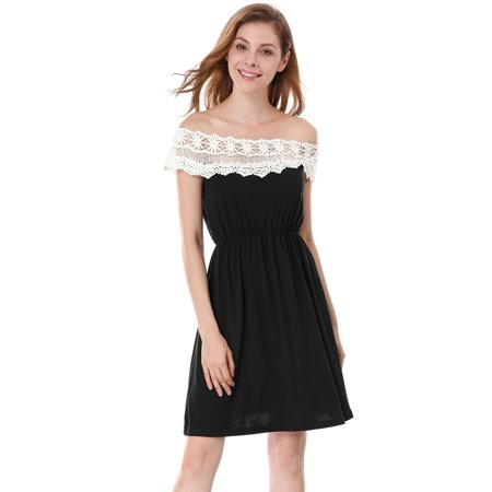 17f26db4b82d Allegra K - Women s Off Shoulder Pullover Panel Short Dress Black (Size S    4) - Walmart.com