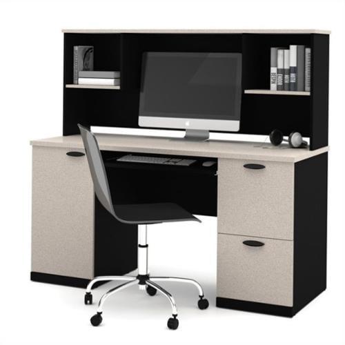 Bestar Hampton Computer Desk with Hutch in Sand Granite & Charcoal