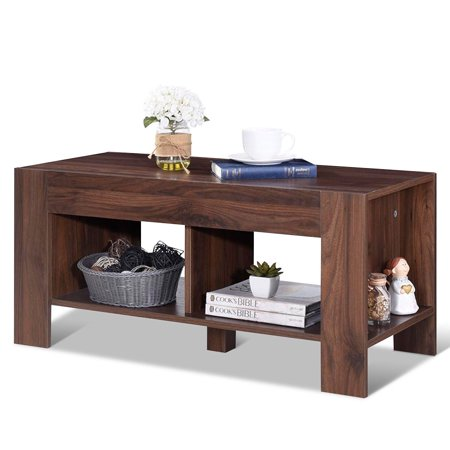 Costway 2-Tier Wood Coffee Table Sofa Side Table w/ Storage Shelf Living Room Office New