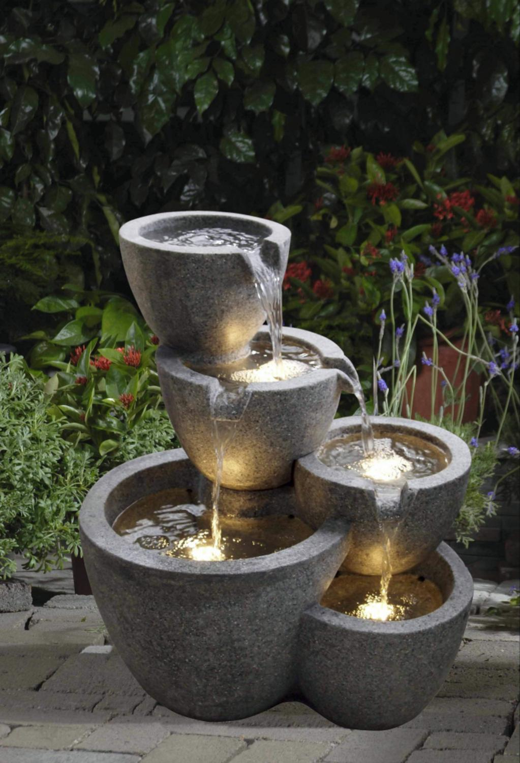 22 led lighted multi tiered stone pot outdoor patio garden water 22 led lighted multi tiered stone pot outdoor patio garden water fountain walmart workwithnaturefo