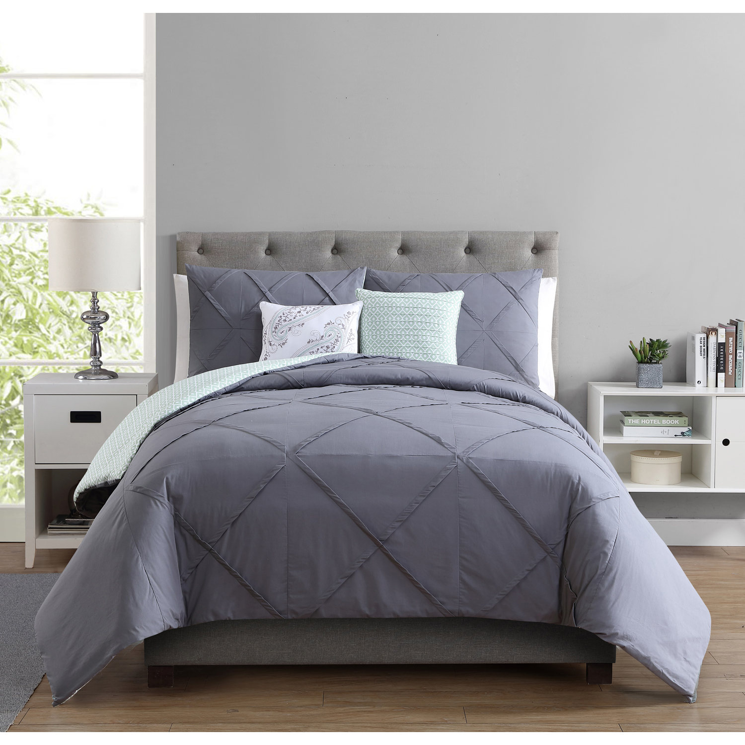 Better Homes and Gardens Pinched Design 5-Piece Reversible Cotton Bedding Comforter Set, Grey, Queen