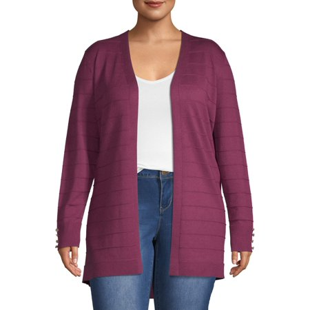Heart & Crush Women's Plus Size Textured Open Cardigan with Buttons