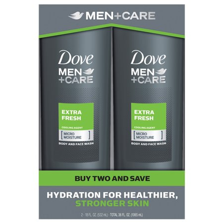 Men Liquid Face Wash - Dove Men+Care Body and Face Wash Extra Fresh 18 oz, Twin Pack