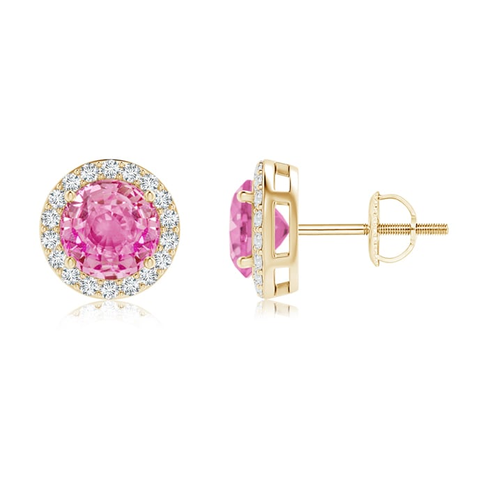 Angara Pink Sapphire and Diamond Stud Earrings in White Gold MZ1rS
