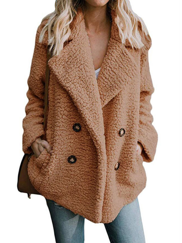 UK Womens Teddy Bear Button Pocket Fluffy Coats Fleece Fur Jacket Outerwear