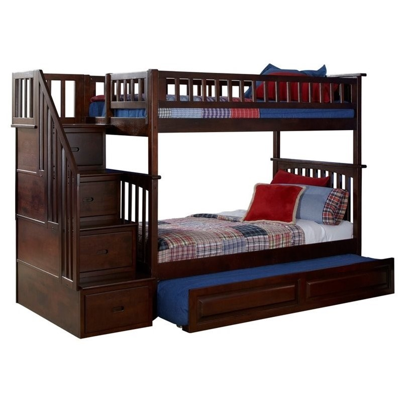 Atlantic Furniture Columbia Twin Over Full Storage Staircase Bunk Bed