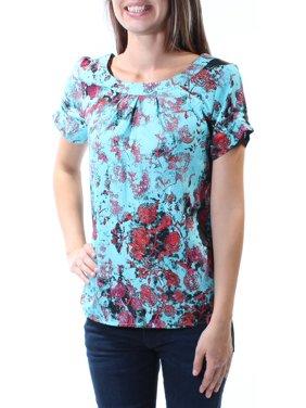 Kensie Womens Satin Printed Casual Top