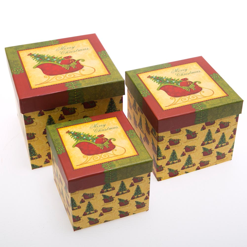 3 Piece Christmas Sleigh Gift Boxes