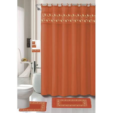 18 Piece Embroidered Floral Bathroom Set Bath Rugs Shower