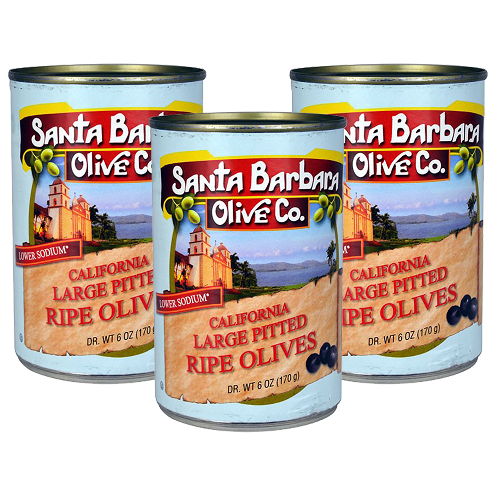 (3 Pack) Santa Barbara Olive Co. California Large Pitted Ripe Olives, 6 Ounce Tins