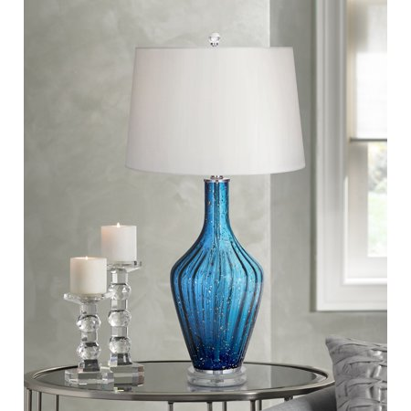 - possini euro design coastal table lamp blue fluted art glass vase white drum shade for living room family bedroom bedside