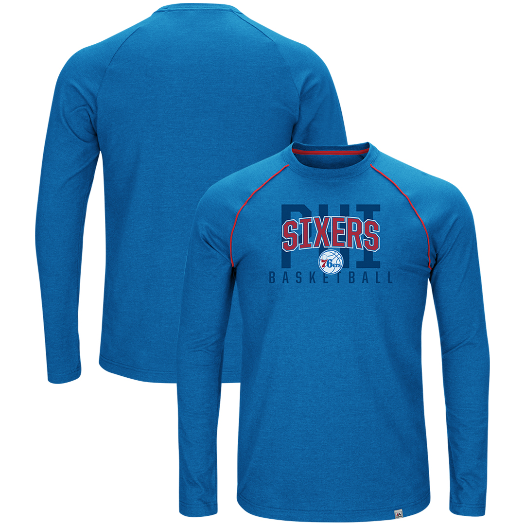 Philadelphia 76ers Majestic Hitting the Mark Long Sleeve Tri-Blend T-Shirt - Royal