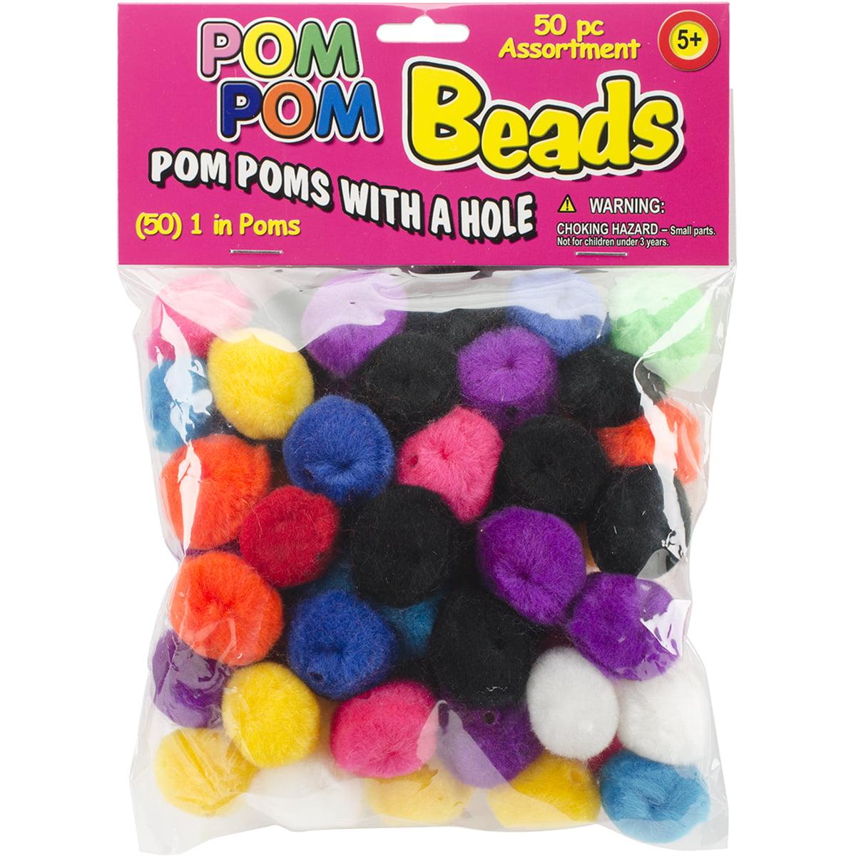 """Pom-Pom Beads 1"""" 50/Pkg-Assorted"""