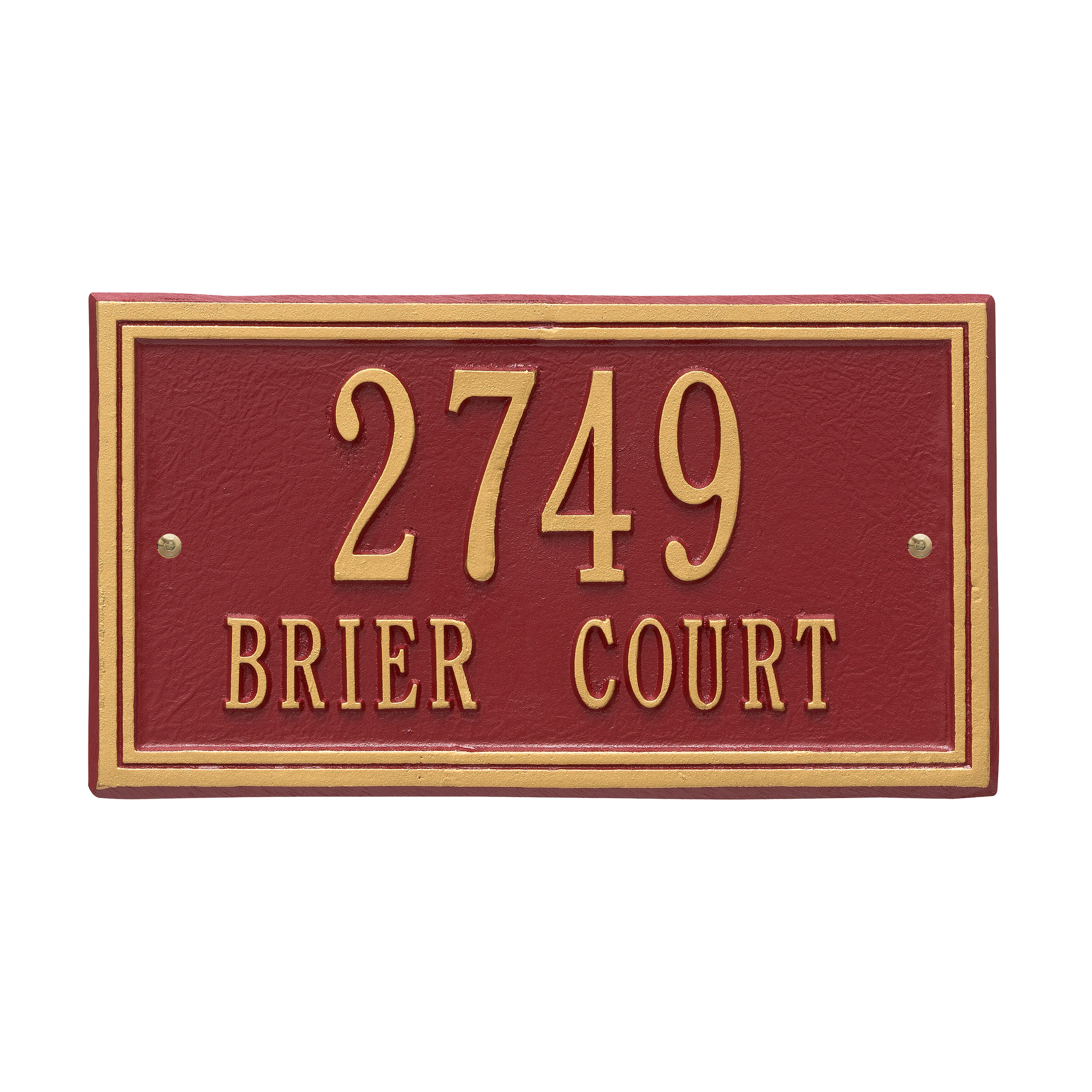 Personalized Whitehall Products Double Line 2-Line Standard Wall Plaque in Red/Gold