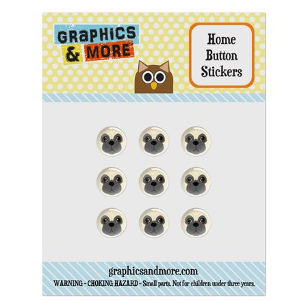 Face Dog Set - Pug Face Pet Dog Home Button Stickers Set Fit Apple iPhone iPad iPod Touch