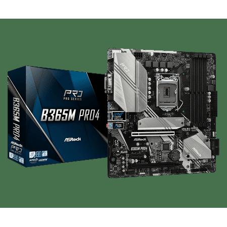 ASRock B365M Pro4 LGA 1151 (300 Series) Intel B365 HDMI SATA 6Gb/s USB 3.1 Micro ATX Intel