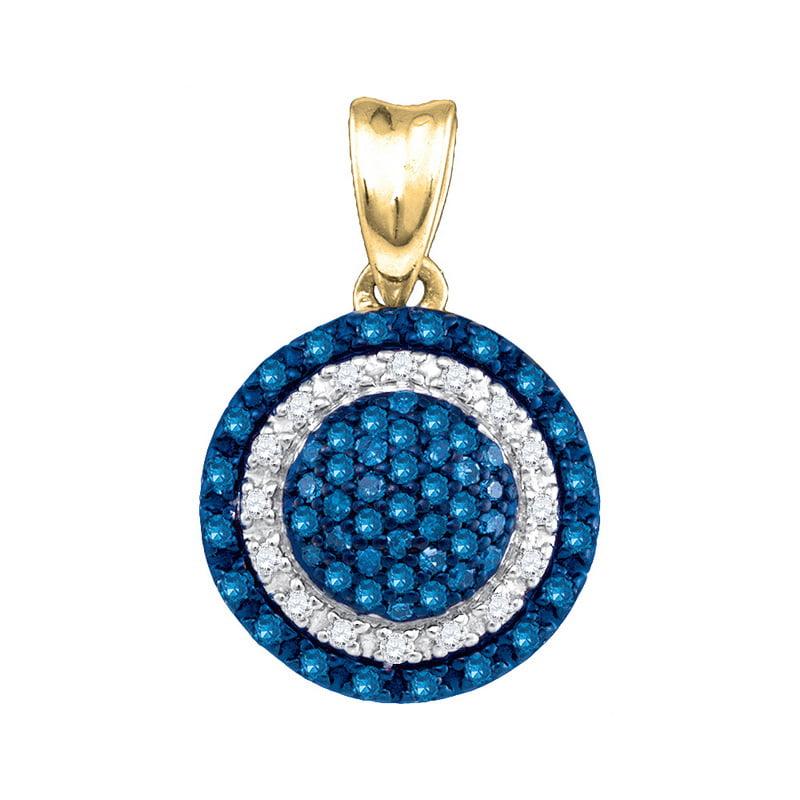 10K Yellow Gold 0.27ctw Fancy Sleek Pave Diamond Decorated Circle Pendant