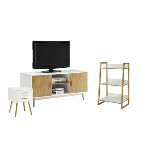 3 piece living room set with end table and bookcase and tv - 3 piece table set for living room ...