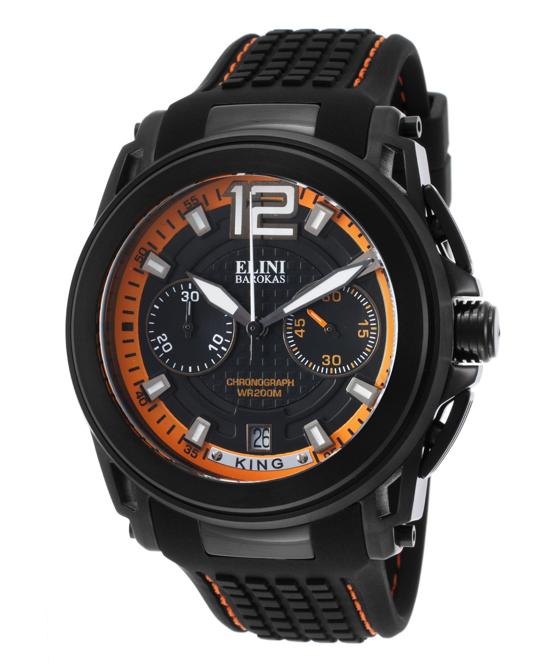 Elini Barokas 20014-Bb-01-Oa King Chronograph Black Silicone And Dial Orange Accent Watch