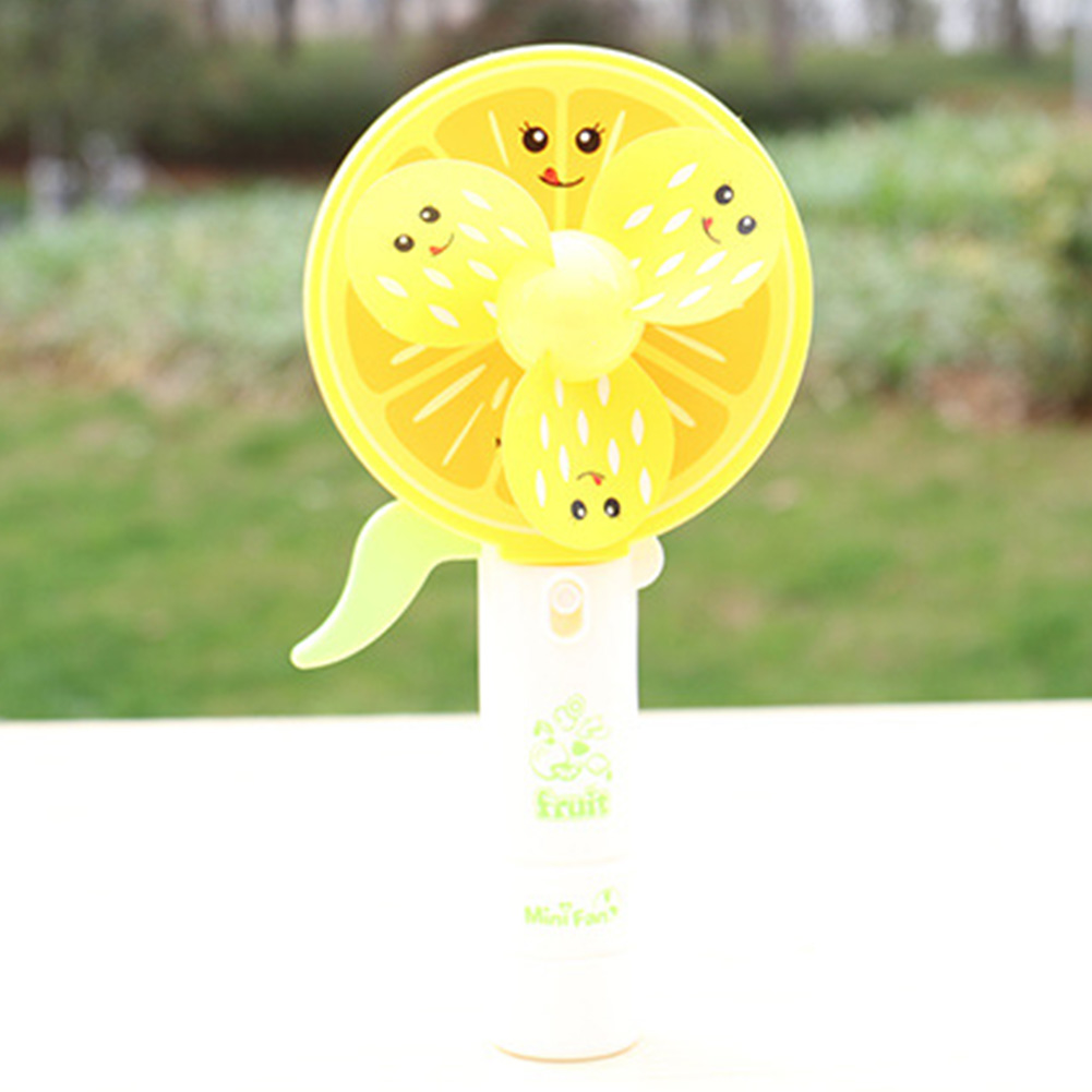 2 In 1 Portable Handheld Mist Spray Fan Toy Hand-operated Mini Cartoon Fruit Fan Toy Gift for Kids Color:Orange