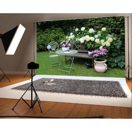 HelloDecor Polyster 7x5ft Photography Background Quiet Garden View Photography Happy Life Modern Wood Bench Chair Blossom Flowers Trees Green Pigeon Backdrops Portraits Shooting Video Studio Props ()