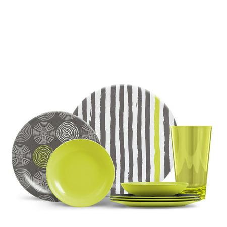 Thermoserv Everyday Collection Cora 16 Piece Melamine Dinnerware Set Stripes Spirals Citrus Green