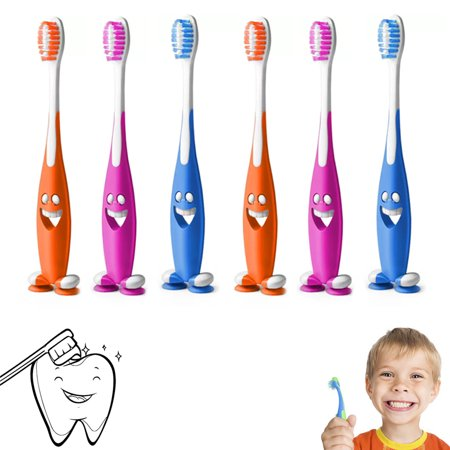 Kids Brush (6 Smiley Happy Toothbrush Suction Cup Stand Soft Bristles Kids Toddler Oral Care )