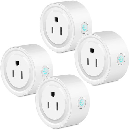 4-pack Smart Wifi Voice/Remote Control Plug Outlet Compatible with Alexa, Mini Wifi Socket Plug Timing Function No Hub Required Control Home Appliances from Anywhere for iOS Android Phone Tablet