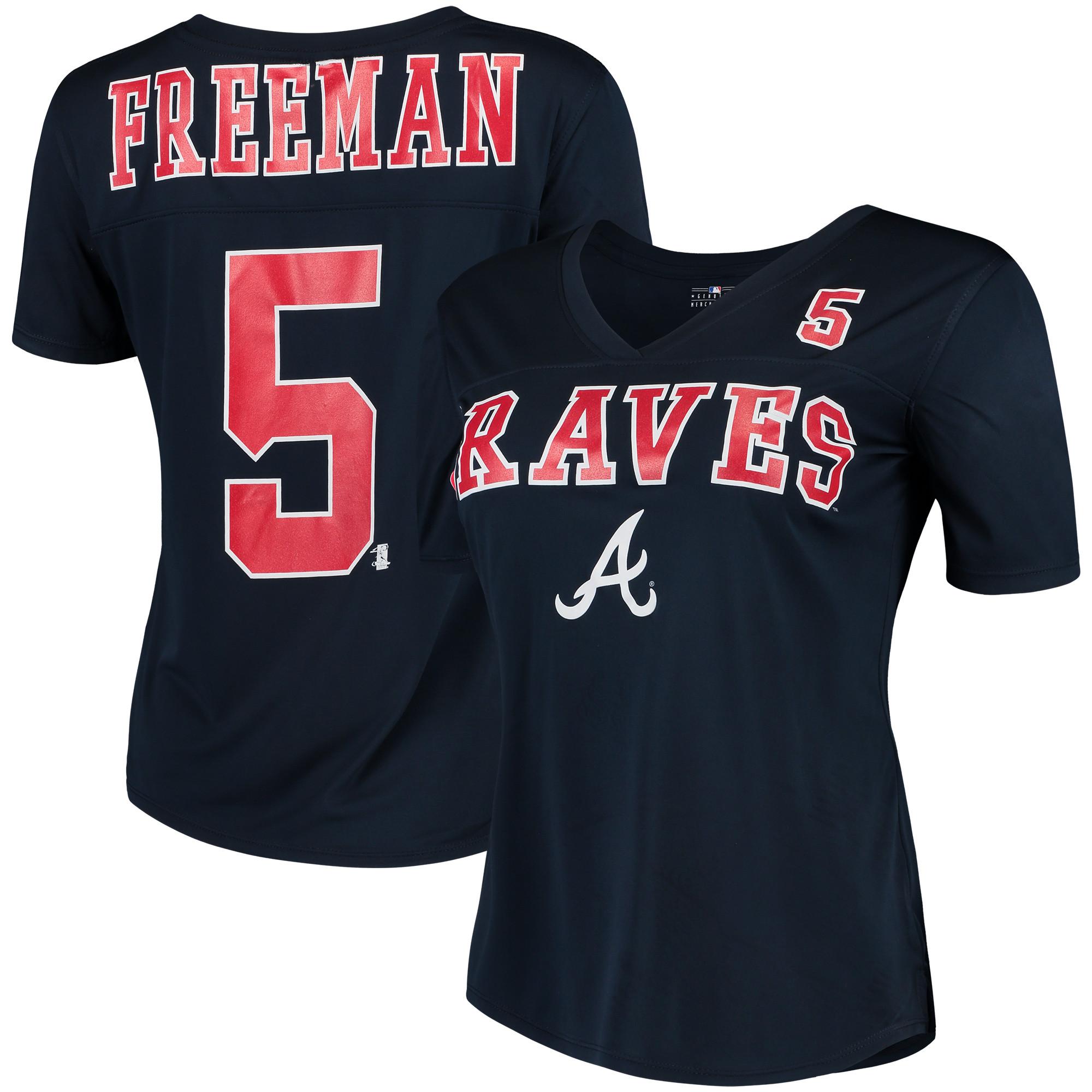 Women's New Era Freddie Freeman Navy Atlanta Braves Name & Number T-Shirt