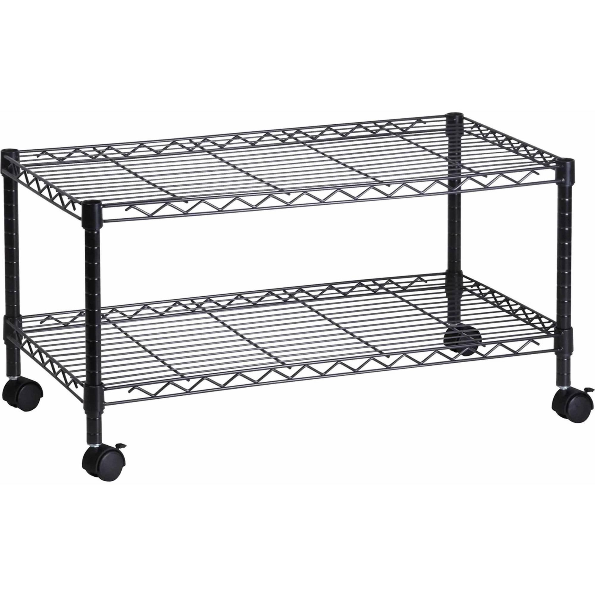 Honey Can Do Steel Media Rolling Cart with 2 Adjustable Shelves, Black