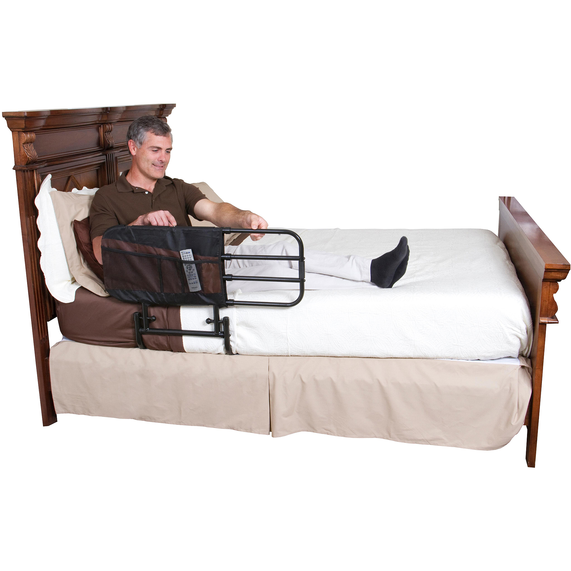 Stander EZ Adjust Home Bed Rail -Length Adjustable and Folding Rail, Black