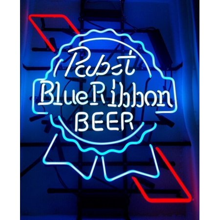Desung Brand New Pabst Blue Ribbon Neon Sign Lamp Glass Beer Bar Pub Man Cave Sports Store Shop Wall Decor Neon Light 20