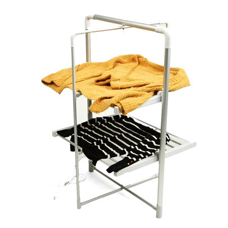 Mind Reader Electric Heated Clothing Rack, 100 Watt Stainless Steel Foldable, Portable, Towel Stand Dryer, Airer, Warmer,
