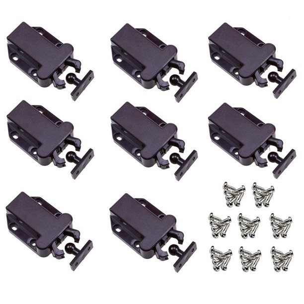 Landgoo Non Magnetic Touch Latches Cabinet Lock Drawer Catch Safe Push Latch Cupboard Bedroom Black 8 Pack Walmart Com Walmart Com